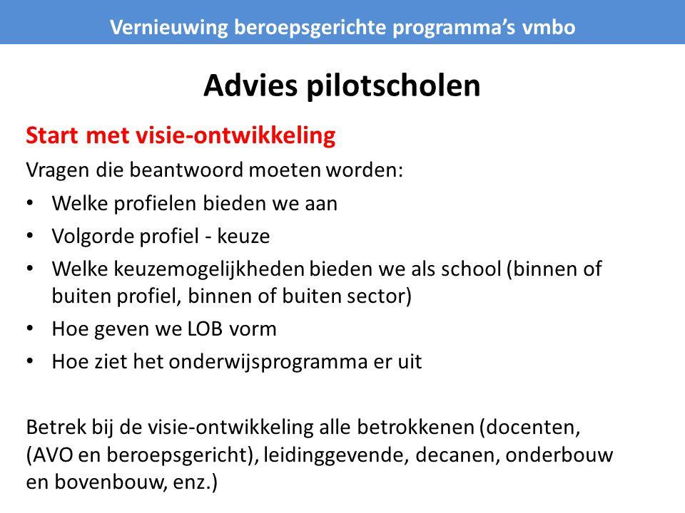 Advies pilotscholen Start met visie-ontwikkeling Vragen die beantwoord moeten worden: • Welke profielen bieden we aan • Volgorde profiel - keuze • Wel