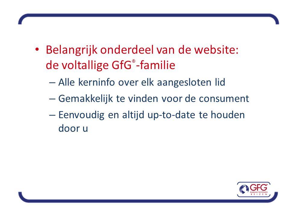 • Belangrijk onderdeel van de website: de voltallige GfG ® -familie – Alle kerninfo over elk aangesloten lid – Gemakkelijk te vinden voor de consument – Eenvoudig en altijd up-to-date te houden door u
