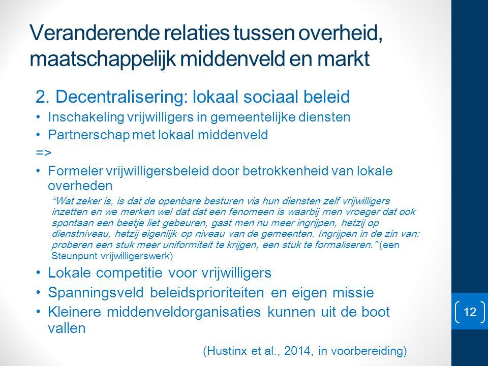Veranderende relaties tussen overheid, maatschappelijk middenveld en markt 2. Decentralisering: lokaal sociaal beleid • Inschakeling vrijwilligers in