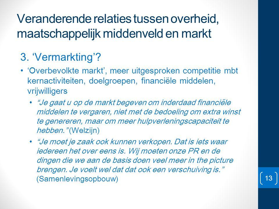 Veranderende relaties tussen overheid, maatschappelijk middenveld en markt 3. 'Vermarkting'? • 'Overbevolkte markt', meer uitgesproken competitie mbt