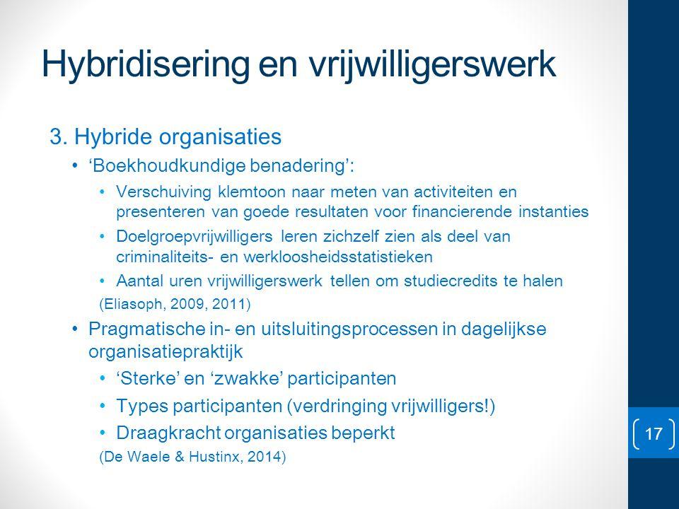 Hybridisering en vrijwilligerswerk 3. Hybride organisaties • 'Boekhoudkundige benadering': • Verschuiving klemtoon naar meten van activiteiten en pres