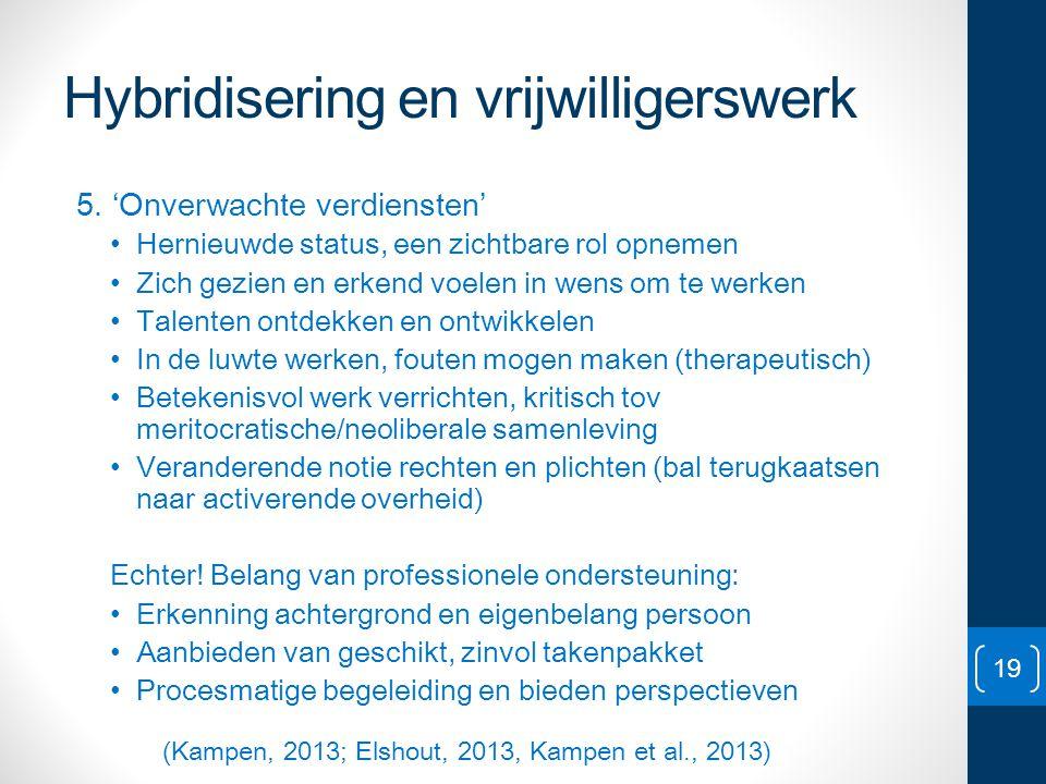Hybridisering en vrijwilligerswerk 5. 'Onverwachte verdiensten' • Hernieuwde status, een zichtbare rol opnemen • Zich gezien en erkend voelen in wens
