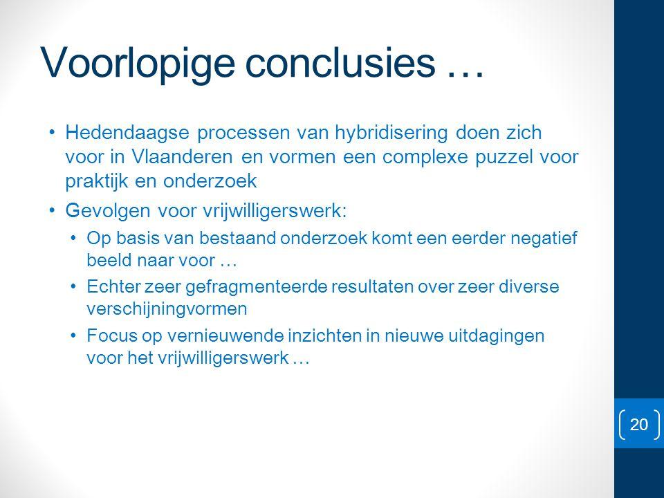 Voorlopige conclusies … • Hedendaagse processen van hybridisering doen zich voor in Vlaanderen en vormen een complexe puzzel voor praktijk en onderzoe