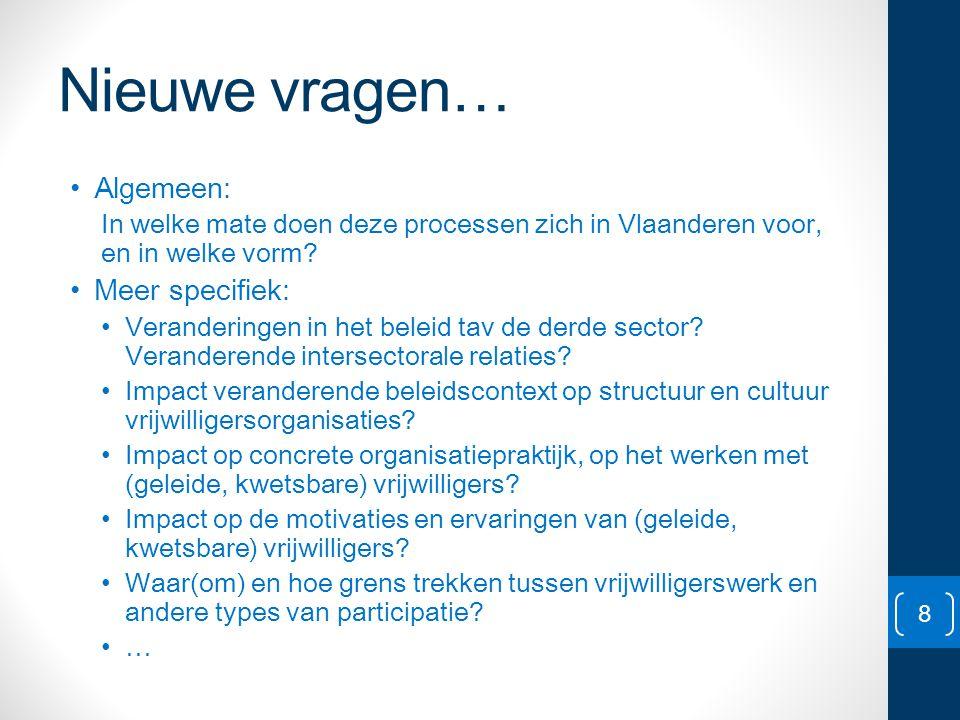 Nieuwe vragen… • Algemeen: In welke mate doen deze processen zich in Vlaanderen voor, en in welke vorm? • Meer specifiek: • Veranderingen in het belei
