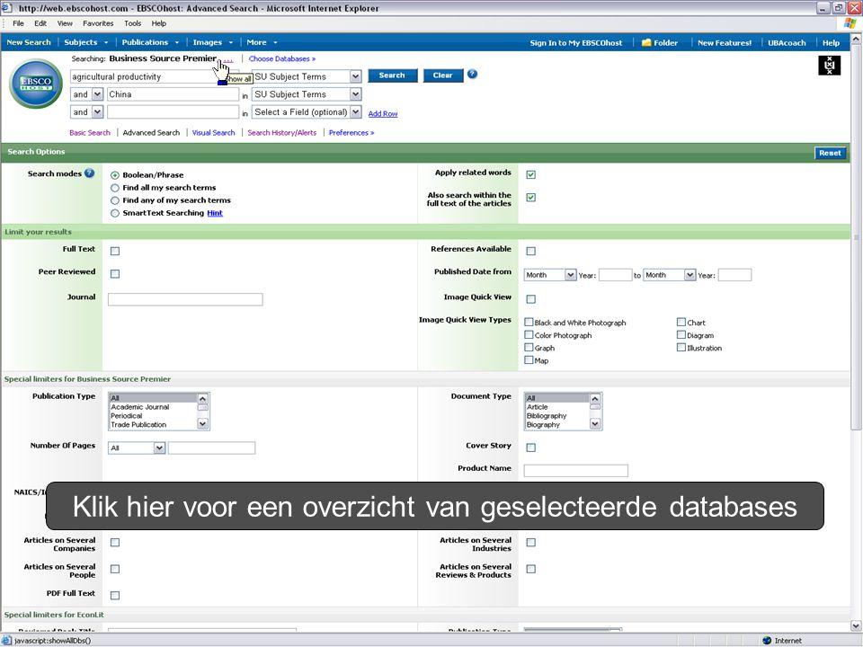 Klik hier voor een overzicht van geselecteerde databases