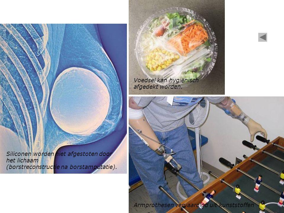 Siliconen worden niet afgestoten door het lichaam (borstreconstructie na borstamputatie).