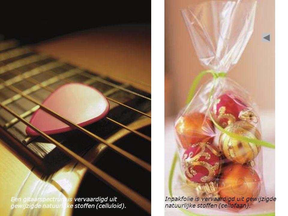 Een gitaarspectrum is vervaardigd uit gewijzigde natuurlijke stoffen (celluloid).