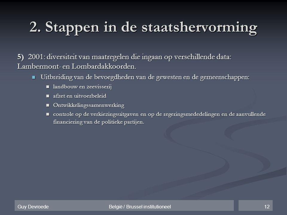 12Guy Devroede België / Brussel institutioneel 2. Stappen in de staatshervorming 5) 2001: diversiteit van maatregelen die ingaan op verschillende data