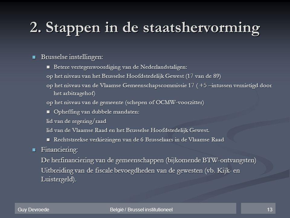 13Guy Devroede België / Brussel institutioneel 2. Stappen in de staatshervorming  Brusselse instellingen:  Betere vertegenwoordiging van de Nederlan