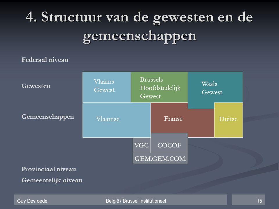 15Guy Devroede België / Brussel institutioneel 4. Structuur van de gewesten en de gemeenschappen Federaal niveau Gewesten Gemeenschappen Provinciaal n