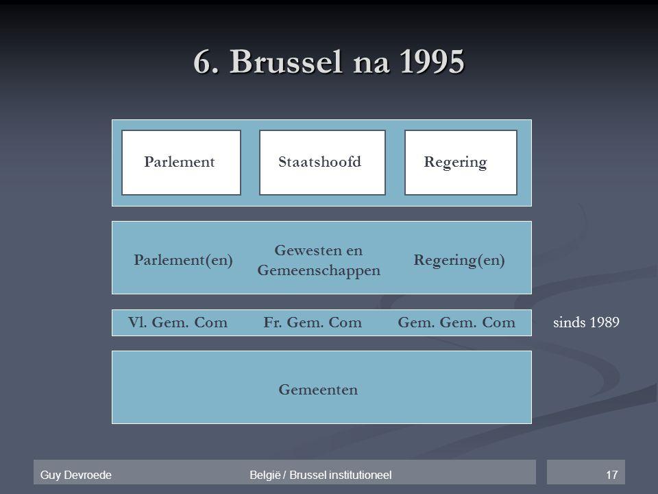 17Guy Devroede België / Brussel institutioneel 6. Brussel na 1995 ParlementStaatshoofdRegering Gemeenten Gewesten en Gemeenschappen Parlement(en)Reger