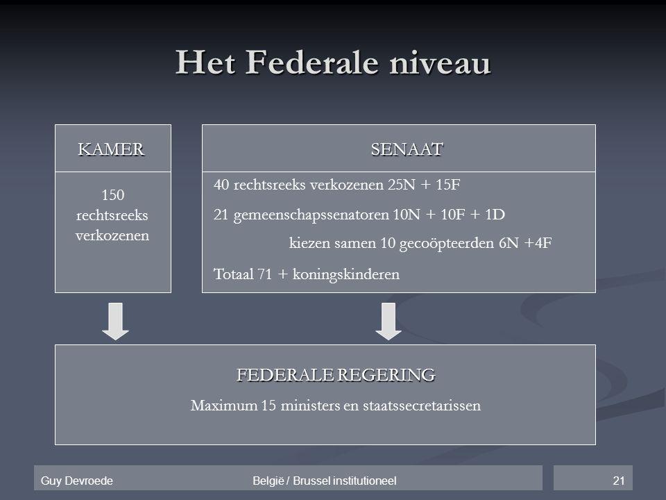 21Guy Devroede België / Brussel institutioneel Het Federale niveau KAMERSENAAT 150 rechtsreeks verkozenen 40 rechtsreeks verkozenen 25N + 15F 21 gemee