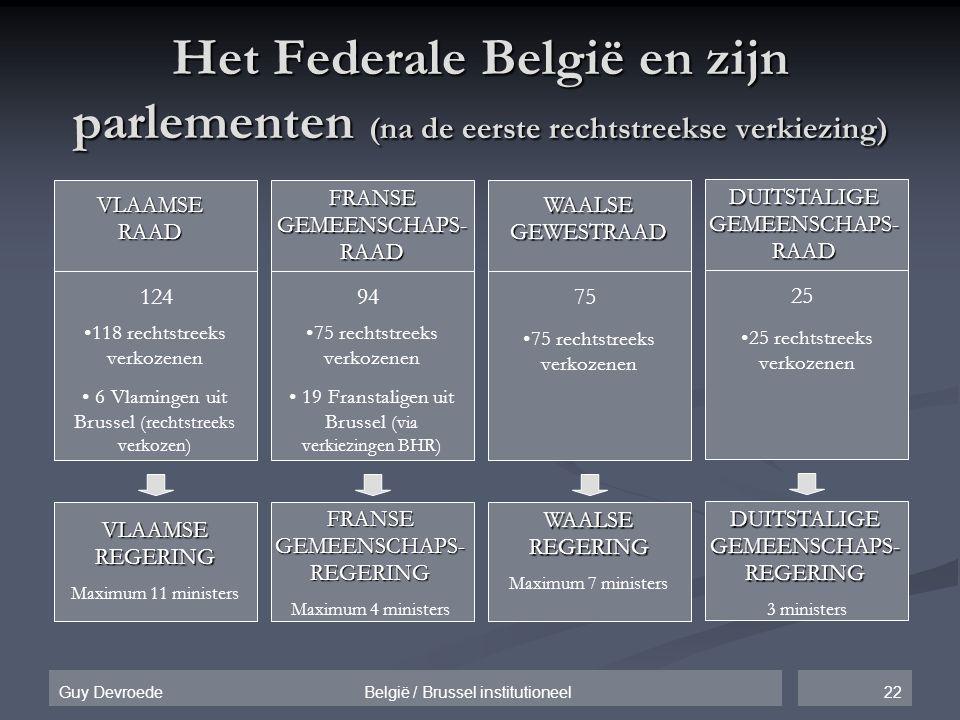 22Guy Devroede België / Brussel institutioneel Het Federale België en zijn parlementen (na de eerste rechtstreekse verkiezing) VLAAMSE RAAD •118 recht