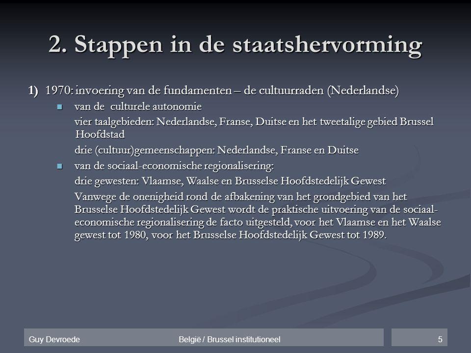 5Guy Devroede België / Brussel institutioneel 2. Stappen in de staatshervorming 1) 1970: invoering van de fundamenten – de cultuurraden (Nederlandse)