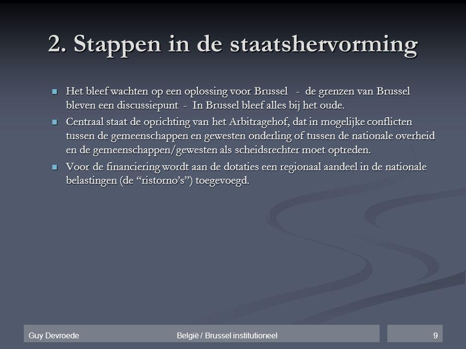 9Guy Devroede België / Brussel institutioneel 2. Stappen in de staatshervorming  Het bleef wachten op een oplossing voor Brussel - de grenzen van Bru