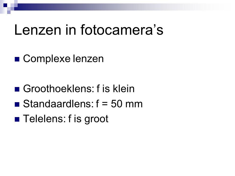 Lenzen in fotocamera's  Complexe lenzen  Groothoeklens: f is klein  Standaardlens: f = 50 mm  Telelens: f is groot
