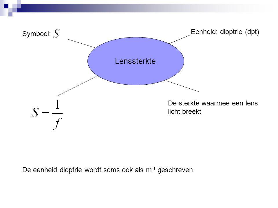 Beeld- en voorwerpsafstand  Beeldafstand (b): de afstand van optisch midden (O) tot het beeld  Voorwerpsafstand (b): de afstand van optisch midden (O) tot het voorwerp