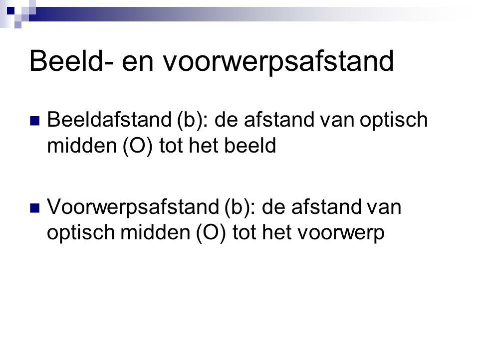 Beeld- en voorwerpsafstand  Beeldafstand (b): de afstand van optisch midden (O) tot het beeld  Voorwerpsafstand (b): de afstand van optisch midden (