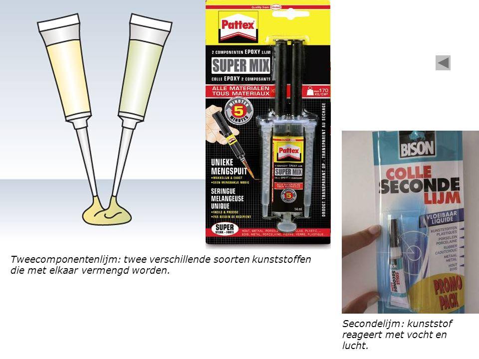 Tweecomponentenlijm: twee verschillende soorten kunststoffen die met elkaar vermengd worden. Secondelijm: kunststof reageert met vocht en lucht.