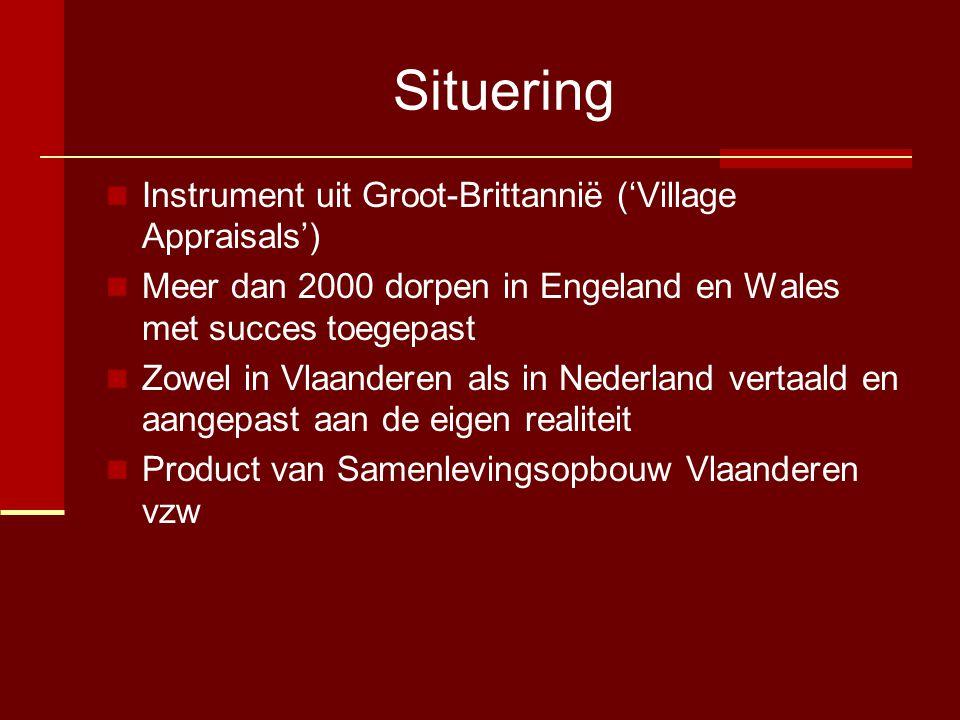 Situering  Instrument uit Groot-Brittannië ('Village Appraisals')  Meer dan 2000 dorpen in Engeland en Wales met succes toegepast  Zowel in Vlaanderen als in Nederland vertaald en aangepast aan de eigen realiteit  Product van Samenlevingsopbouw Vlaanderen vzw