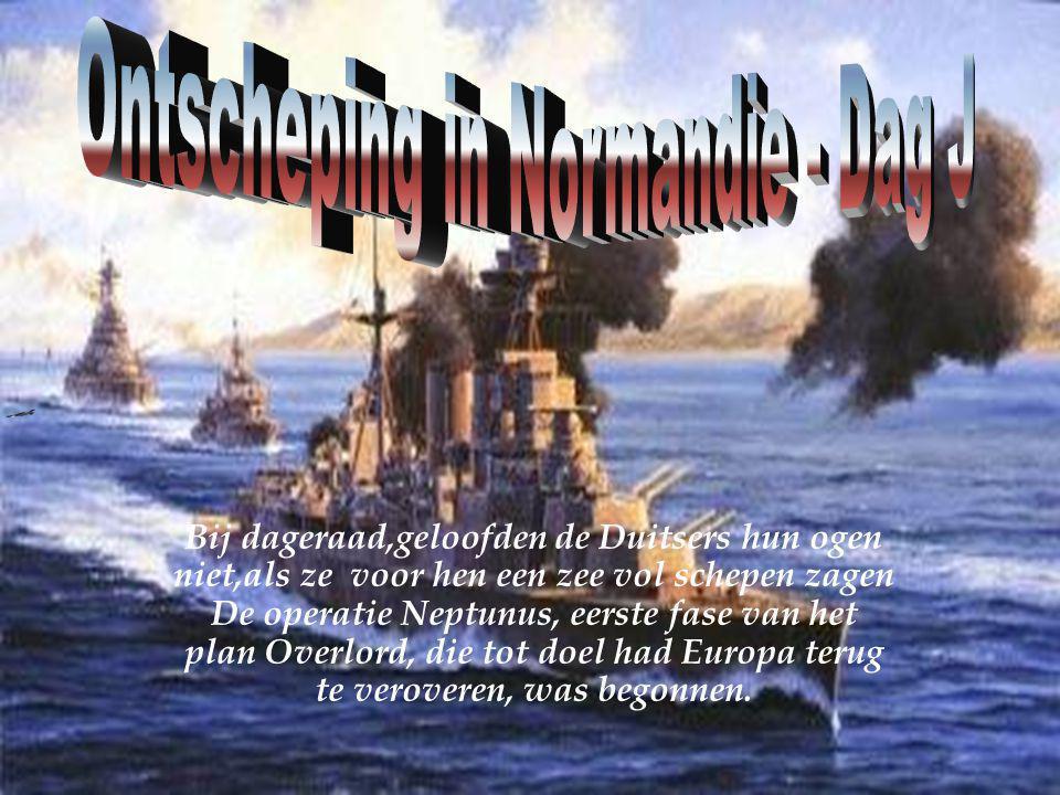 Bij dageraad,geloofden de Duitsers hun ogen niet,als ze voor hen een zee vol schepen zagen De operatie Neptunus, eerste fase van het plan Overlord, die tot doel had Europa terug te veroveren, was begonnen.