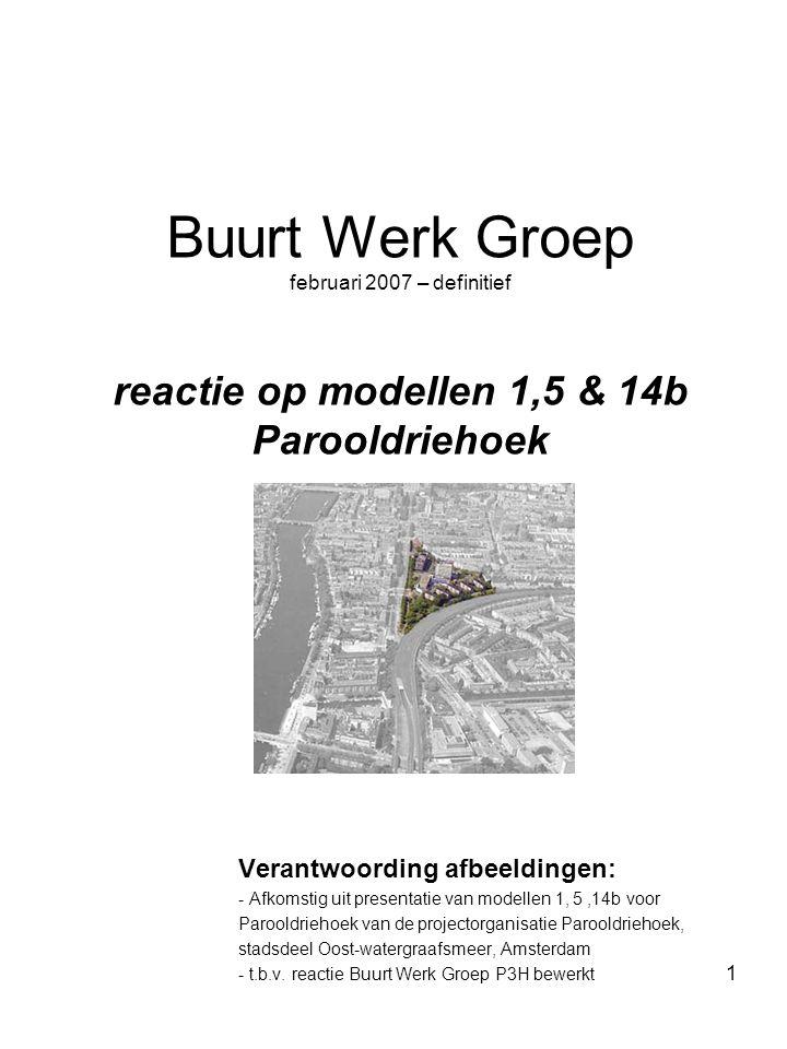 1 Buurt Werk Groep februari 2007 – definitief reactie op modellen 1,5 & 14b Parooldriehoek Verantwoording afbeeldingen: - Afkomstig uit presentatie va