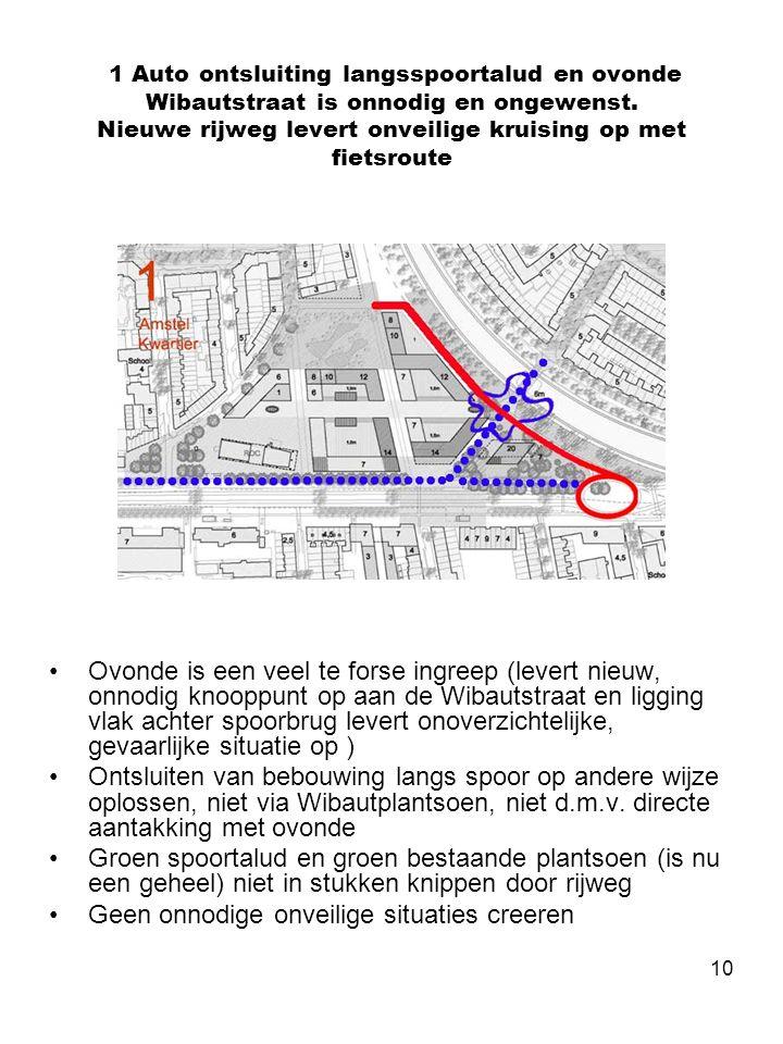 10 1 Auto ontsluiting langsspoortalud en ovonde Wibautstraat is onnodig en ongewenst. Nieuwe rijweg levert onveilige kruising op met fietsroute •Ovond