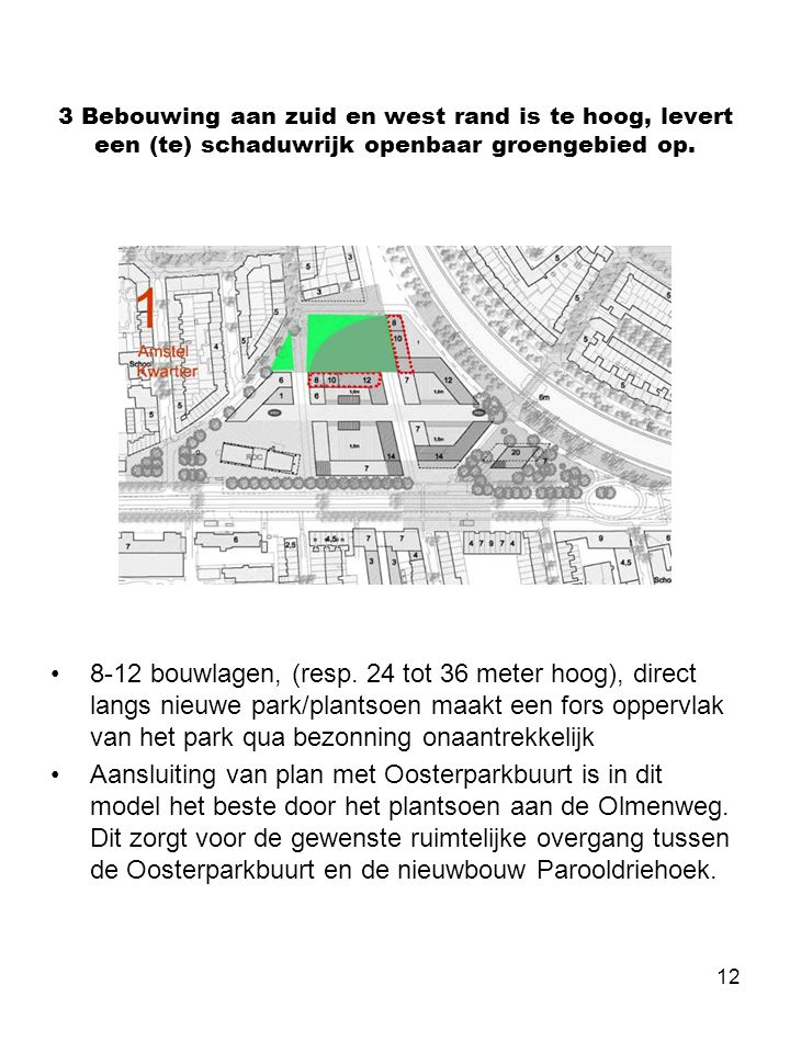 12 3 Bebouwing aan zuid en west rand is te hoog, levert een (te) schaduwrijk openbaar groengebied op. •8-12 bouwlagen, (resp. 24 tot 36 meter hoog), d