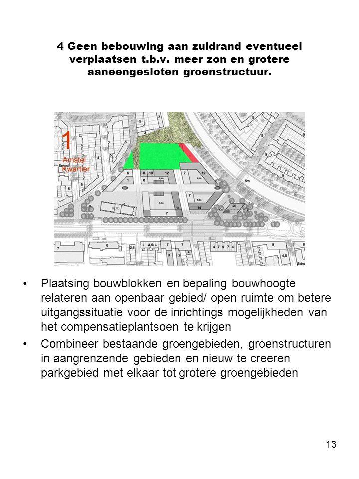 13 4 Geen bebouwing aan zuidrand eventueel verplaatsen t.b.v. meer zon en grotere aaneengesloten groenstructuur. •Plaatsing bouwblokken en bepaling bo