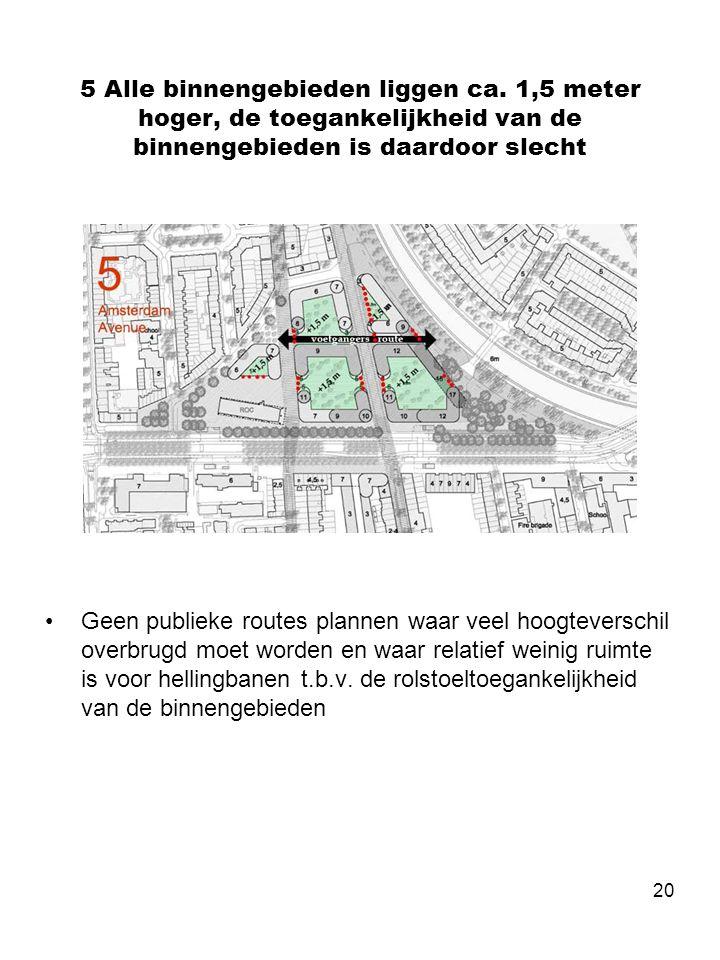 20 5 Alle binnengebieden liggen ca. 1,5 meter hoger, de toegankelijkheid van de binnengebieden is daardoor slecht •Geen publieke routes plannen waar v