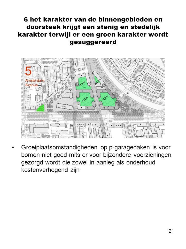 21 6 het karakter van de binnengebieden en doorsteek krijgt een stenig en stedelijk karakter terwijl er een groen karakter wordt gesuggereerd •Groeiplaatsomstandigheden op p-garagedaken is voor bomen niet goed mits er voor bijzondere voorzieningen gezorgd wordt die zowel in aanleg als onderhoud kostenverhogend zijn