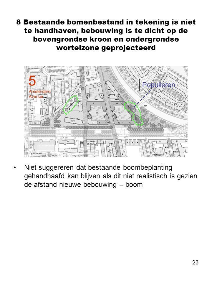 23 8 Bestaande bomenbestand in tekening is niet te handhaven, bebouwing is te dicht op de bovengrondse kroon en ondergrondse wortelzone geprojecteerd