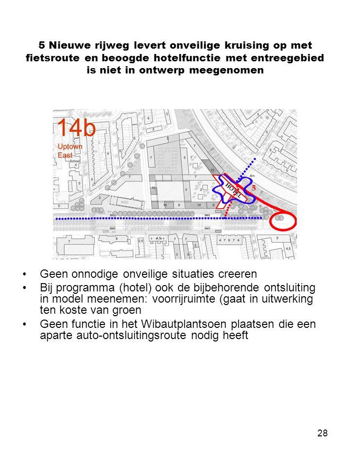 28 5 Nieuwe rijweg levert onveilige kruising op met fietsroute en beoogde hotelfunctie met entreegebied is niet in ontwerp meegenomen •Geen onnodige o