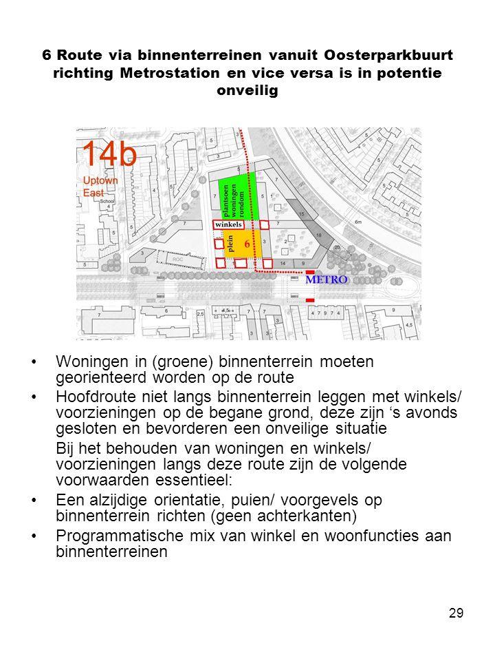 29 6 Route via binnenterreinen vanuit Oosterparkbuurt richting Metrostation en vice versa is in potentie onveilig •Woningen in (groene) binnenterrein