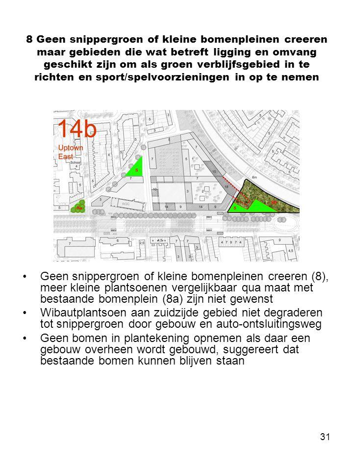 31 8 Geen snippergroen of kleine bomenpleinen creeren maar gebieden die wat betreft ligging en omvang geschikt zijn om als groen verblijfsgebied in te