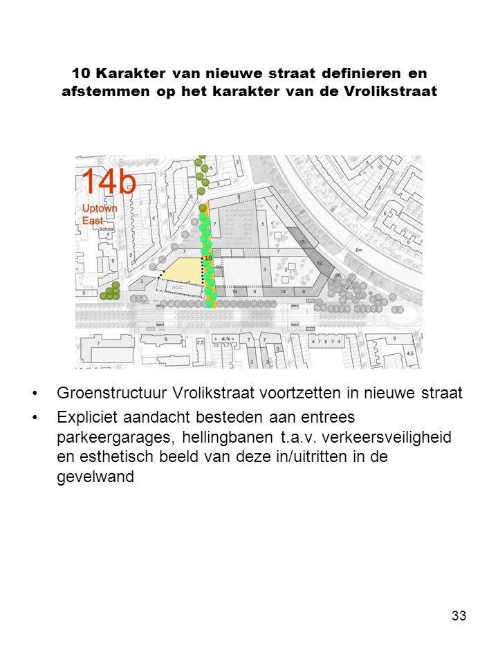 33 10 Karakter van nieuwe straat definieren en afstemmen op het karakter van de Vrolikstraat •Groenstructuur Vrolikstraat voortzetten in nieuwe straat