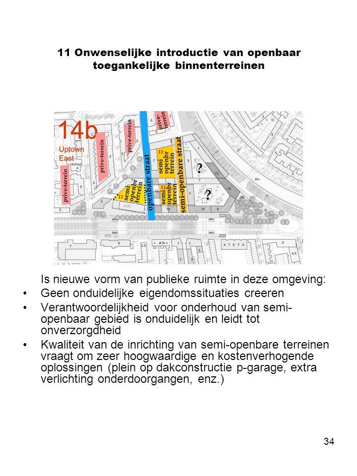 34 11 Onwenselijke introductie van openbaar toegankelijke binnenterreinen Is nieuwe vorm van publieke ruimte in deze omgeving: •Geen onduidelijke eige