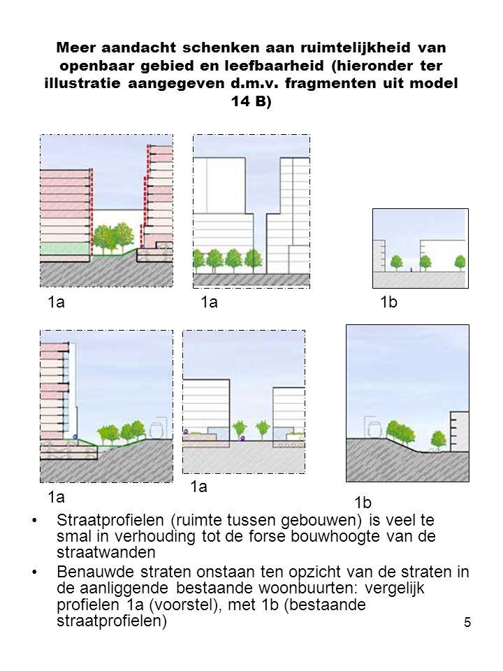 6 Meer aandacht schenken aan karakter, bruikbaarheid en kwaliteit groene (compensatie) gebieden •Groen wordt te versnipperd in de plannen opgenomen waardoor er onvoldoende mogelijkheid is om verblijfskwaliteit, sport, en spelvoorzieningen en een park/plantsoen-achtig karakter te realiseren (1) •Compensatie van bebouwing in het plantsoen in binnengebieden met privaat karakter is onvolwaardig (2) •Groene gebieden krijgen een te stedelijk en stenig karakter door de aanwezigheid van hoge bebouwingswanden/ bouw-volumes in de nabijheid (1 & 2) 1 2 1 1 Model 1 Model 5 Model 14B Model 5