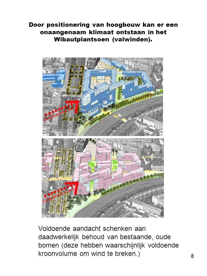 8 Door positionering van hoogbouw kan er een onaangenaam klimaat ontstaan in het Wibautplantsoen (valwinden).