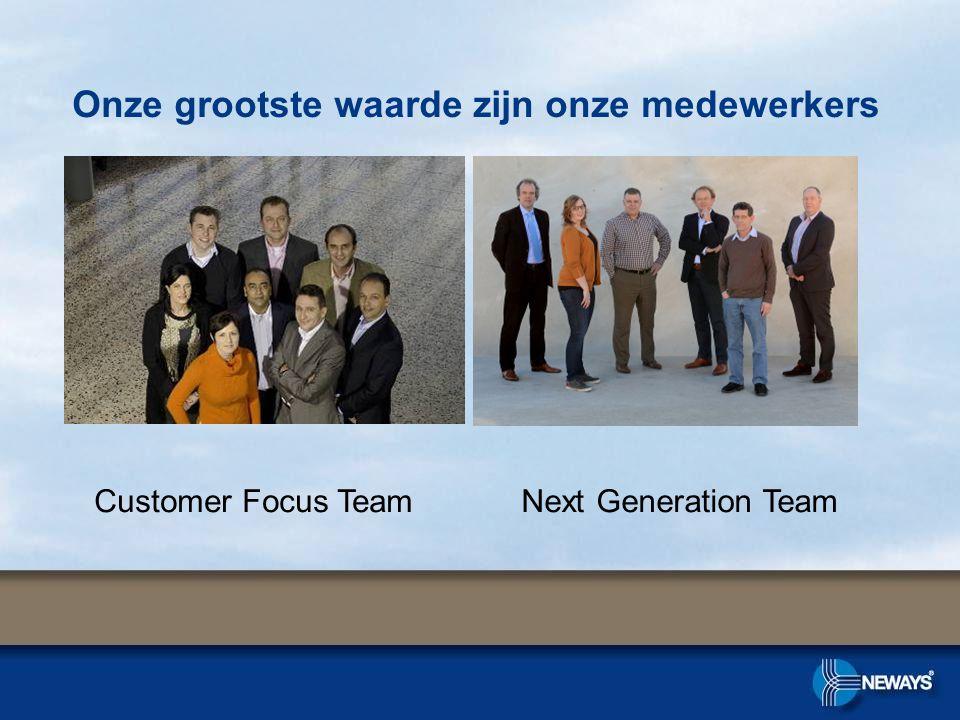 Onze grootste waarde zijn onze medewerkers Customer Focus TeamNext Generation Team