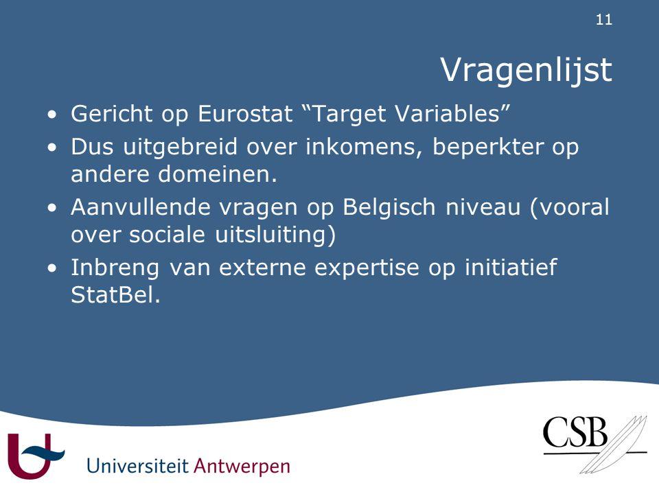 11 Vragenlijst •Gericht op Eurostat Target Variables •Dus uitgebreid over inkomens, beperkter op andere domeinen.
