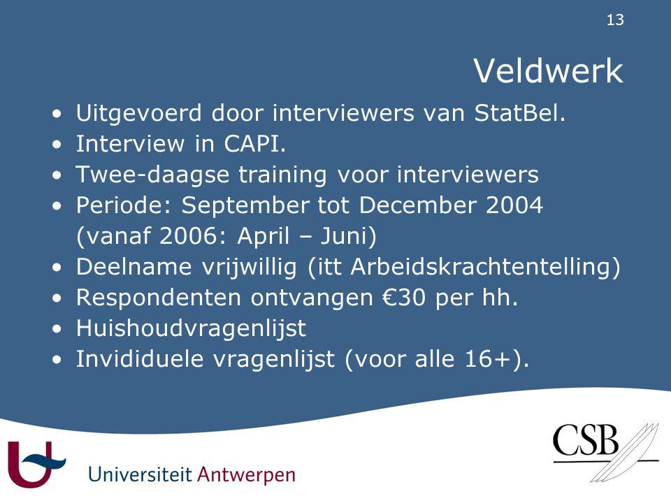 13 Veldwerk •Uitgevoerd door interviewers van StatBel.