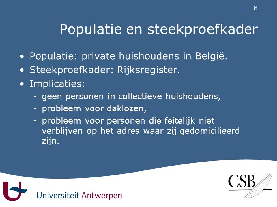 8 Populatie en steekproefkader •Populatie: private huishoudens in België.