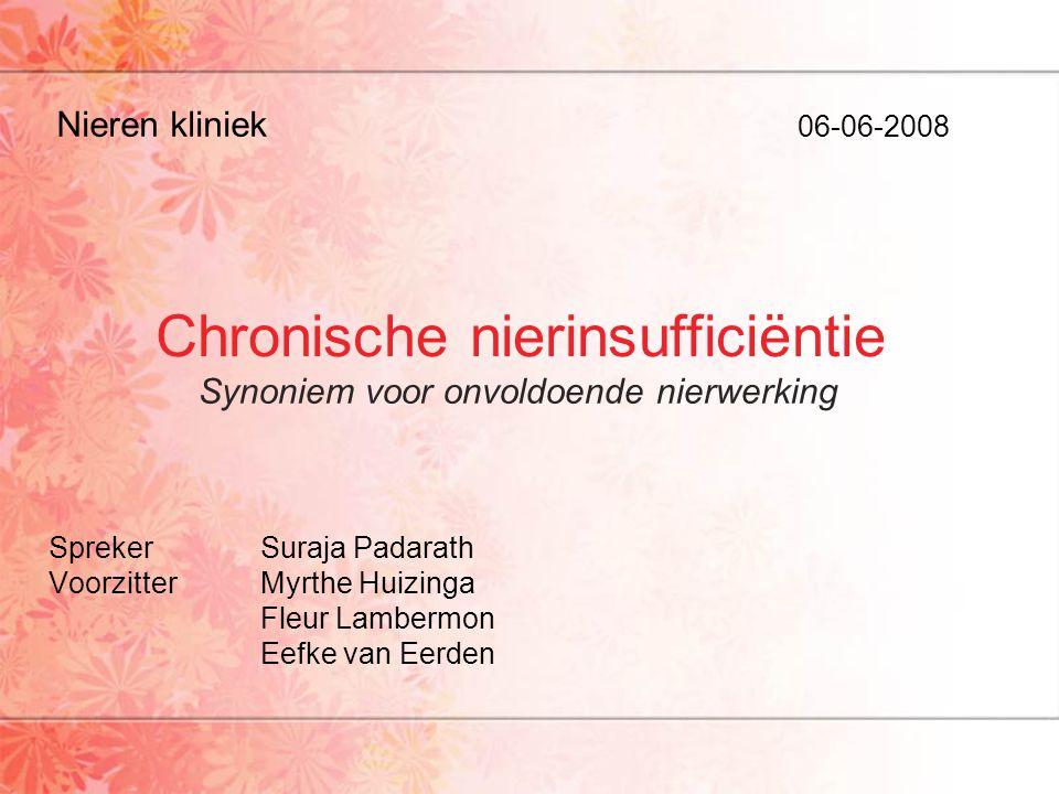 Chronische nierinsufficiëntie SprekerSuraja Padarath VoorzitterMyrthe Huizinga Fleur Lambermon Eefke van Eerden Nieren kliniek 06-06-2008 Synoniem voo
