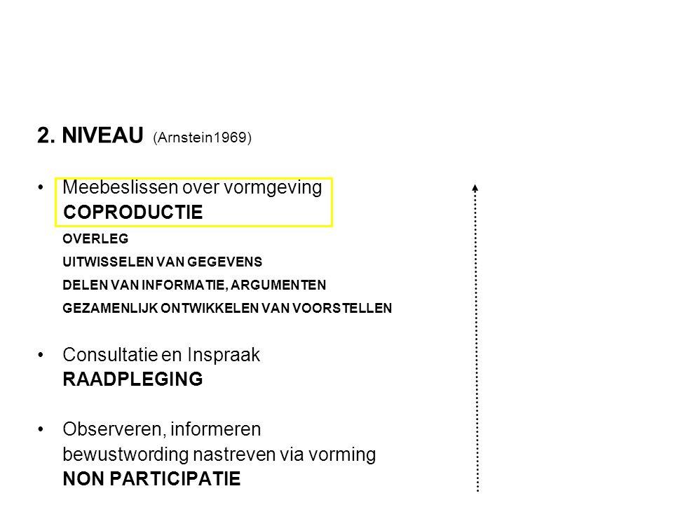 2. NIVEAU (Arnstein1969) •Meebeslissen over vormgeving COPRODUCTIE OVERLEG UITWISSELEN VAN GEGEVENS DELEN VAN INFORMATIE, ARGUMENTEN GEZAMENLIJK ONTWI