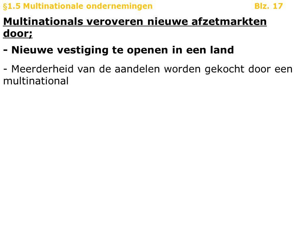 Multinationals veroveren nieuwe afzetmarkten door; §1.5 Multinationale ondernemingenBlz. 17 - Nieuwe vestiging te openen in een land - Meerderheid van