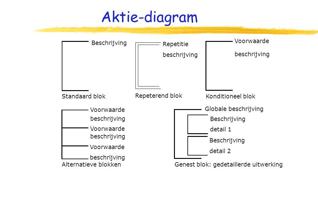 Aktie-diagram Beschrijving Standaard blok Repeterend blok Repetitie beschrijving Konditioneel blok Voorwaarde beschrijving Alternatieve blokken Voorwaarde beschrijving Voorwaarde beschrijving Voorwaarde beschrijving Globale beschrijving Genest blok: gedetaillerde uitwerking Beschrijving detail 1 Beschrijving detail 2