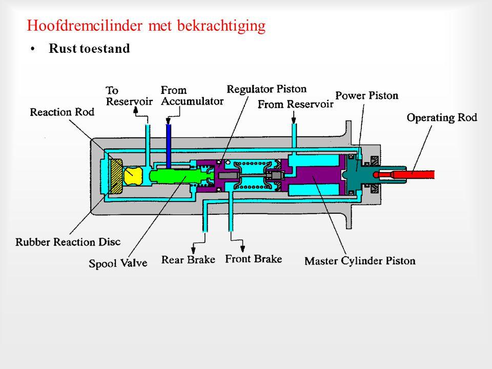 De hoofdremcilinder bedient alleen de voorremmen. De achter- remmen worden door de accumulator bediend. Een klep (P & B klep) controleert de achterrem
