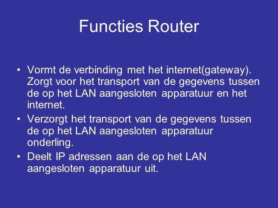 Functies Router •Vormt de verbinding met het internet(gateway). Zorgt voor het transport van de gegevens tussen de op het LAN aangesloten apparatuur e