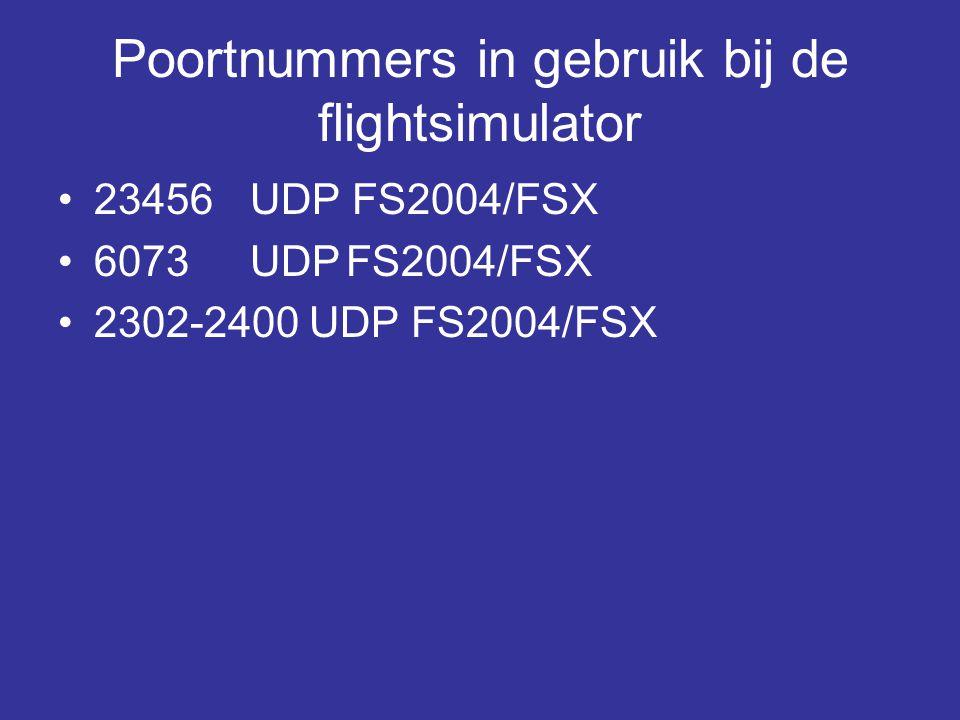 Poortnummers in gebruik bij de flightsimulator •23456 UDP FS2004/FSX •6073UDPFS2004/FSX •2302-2400 UDP FS2004/FSX